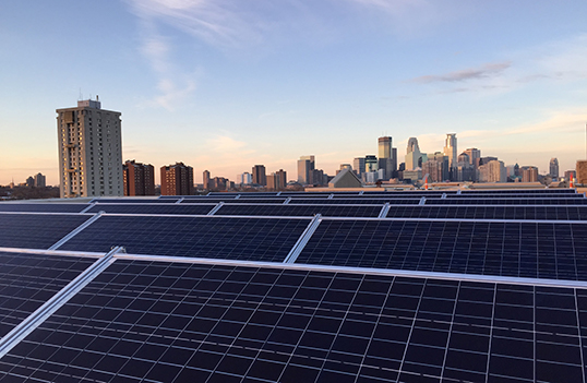 Minneapolis Skyline With Solar Panels